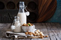 Almond nut vegan milk non dairy in different bottles with copy space Stock Image