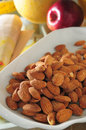 Almond nuts an apricot kernel Royalty Free Stock Photos