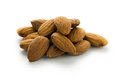 Almond nuts close up isolated on white background Royalty Free Stock Photos