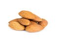 Almond nuts isolated on white background closeup Royalty Free Stock Photo