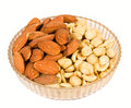 Almond and peanut nuts Royalty Free Stock Photo