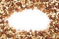 Almond pistachio peanut walnut hazelnut mix copyspace frame background Stock Images