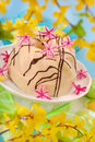 Almond ring cake for easter Stock Photos