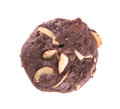 Almonds chocolate chips cookies on background Stock Images