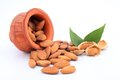 Almonds in a earthen pot on white background Royalty Free Stock Image