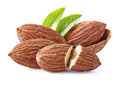 Almonds kernel with leaves in closeup Royalty Free Stock Images