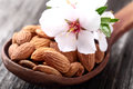 Almonds kernel in a wooden spoon with flowers Royalty Free Stock Photo