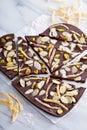 Almonds orange peel and salt chocolate bark candied sea Royalty Free Stock Image
