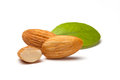 Almonds on a white background。 Stock Photo