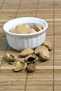 Almonds in white bowl Stock Image