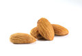 Almonds on white extreme closeup of few background Stock Photography