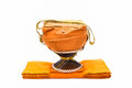 Alms bowl and robes of Monk. Royalty Free Stock Photography