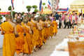 Almsgiving in thailand ayutthaya apr novice wait line for ceremony during songkran festival on apr ayutthaya Stock Images