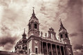 Almudena cathedral of madrid spain with sepia effects Stock Photo