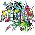 Aloha. Aloha Tee Shirt design. Tropical plants watercolor