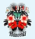 Aloha Hawaii. Pink hibiscus and black leaves mirror illustration