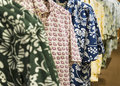 Aloha shirts short sleeve dress for sale in a department store Stock Images
