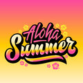 Aloha Summer Abstract Vector Hand Lettering Greeting Gard, Sign or Poster. With Hawaii Flowers and Pink Yellow Gradient. Royalty Free Stock Photo