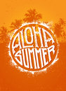Aloha Summer Party. Outstanding Beach Tropical Vector Banner Concept On Palm Tree Background Royalty Free Stock Photo