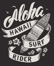 Aloha typography with surfboard illustration for t-shirt print vector illustration.