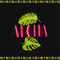 Aloha word with tropical leaves at dark background. Hawaiian vector design.