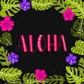 Aloha word in tropical leaves and flowers frame Royalty Free Stock Photo