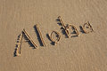 Aloha written in the sand at the beach is a famous hawaiian greeting Royalty Free Stock Image