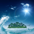 Alone island in ocean abstract environmental backgrounds Stock Image