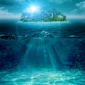 Alone island in ocean abstract environmental backgrounds Stock Photo