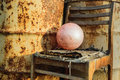 Alone on the old rusty background hopelessness concept Royalty Free Stock Photo