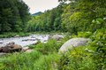 Along the wilmington flume trail ausable river flowing next to Stock Images