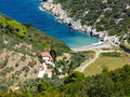 Alonissos a beautiful beach at greece view from high Royalty Free Stock Photography