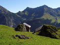 Alp huts in the raetikon mountains austria Stock Image
