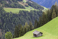 Alp shed on a mountain slope Stock Images
