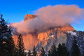 Alpenglow on Half Dome Stock Photo