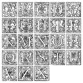 Alphabet from 16th century Royalty Free Stock Images
