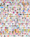 Alphabet with 516 letters, numbers, symbols Royalty Free Stock Image
