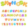Alphabet ABC vector balloon kids alphabetical font with helium color letters and numbers for birthday party illustration