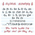 Alphabet ABC vector musical alphabetical font with music note letters of alphabetic typography illustration Royalty Free Stock Photo