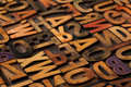 Alphabet abstract in vintage printing blocks Stock Photo