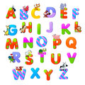 Alphabet with animals funny cartoon and vector isolated items Royalty Free Stock Photos