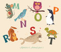 Alphabet animals part set of letters from m to t the english and education for children Stock Photography