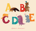 Alphabet animals part set of letters from a to d the english and education for children Royalty Free Stock Photos