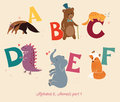 Alphabet animals part set of letters from a to f the english and education for children Royalty Free Stock Photo