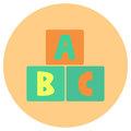 Alphabet block baby toys cute icon in trendy flat style isolated on color background. Baby symbol for your design, logo, UI. Vecto
