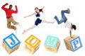 Alphabet Blocks JUMP with People Jumping Stock Photography