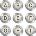 Alphabet Button - A-I Royalty Free Stock Photo