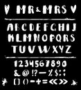 Alphabet of calligraphy on a black background
