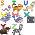 Alphabet with cartoon animals 3 Stock Photography
