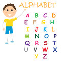 Alphabet chart kids study colorful white